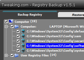 Registry Backup by Tweaking.com