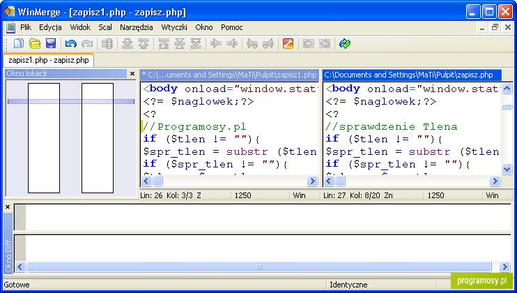 Galeria zdjęć   Zrzuty ekranu   Screenshoty - WinMerge Portable